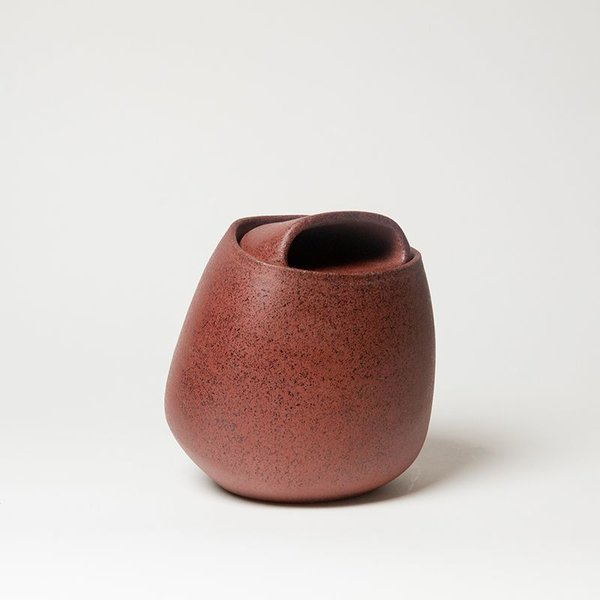 Noah Riedel, Lidded Jar, orange, 7.75 x 7 x 6.75
