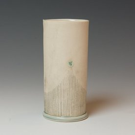 Annette Gates SOLD Annette Gates, Tall Tumbler, Porcelain, combined handbuilt and slip-cast elements, 5 x 2.25""