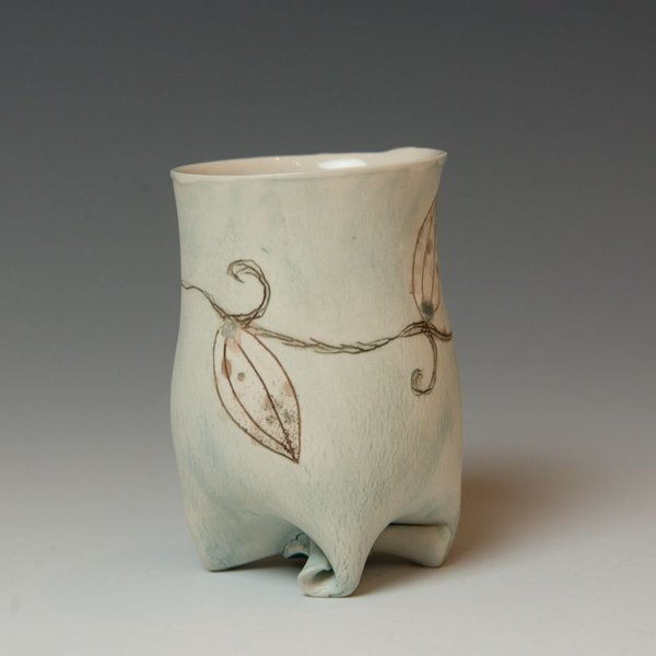 Annette Gates Annette Gates, Small Rolled Foot Buds Tumbler, Porcelain, combined handbuilt and slip-cast elements, 3.5 x 2.75 x 2.5""