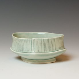 Annette Gates Annette Gates, Small Bowl, Porcelain, combined handbuilt and slip-cast elements, 1.75 x 4 x 3.25""