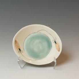"Annette Gates Annette Gates, Small Buds Side Dish, Porcelain, combined handbuilt and slip-cast elements, 1.25 x 4.25 x 3.75"""