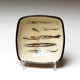 Michael Simon Michael Simon, Squared Bowl, Fish, stoneware, glaze, slip, salt-fired, 3 x 6.5 x 6.5""