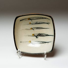 Michael Simon Michael Simon, Squared Bowl, Fish, stoneware, glaze, slip, salt-fired, 3 x 6.75 x 6.5""
