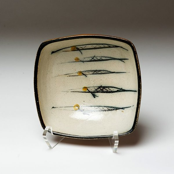 Michael Simon Michael Simon, Squared Bowl, Fish, earthenware,  3 x 6.75 x 6.5""