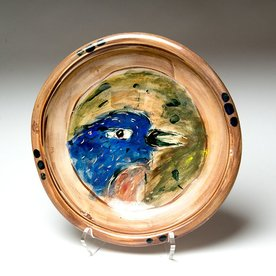 """Ron Meyers Ron Meyers, Bowl with Bluebird,<br /> 3"""" x 11"""" dia"""