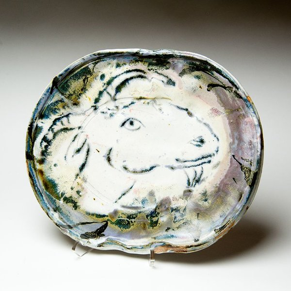 """Ron Meyers Ron Meyers, Oval Platter with Goat, 2 x 11.5 x 13"""""""