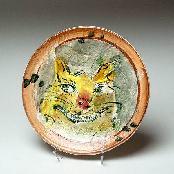Ron Meyers Ron Meyers, Small Plate, Cat, 9""
