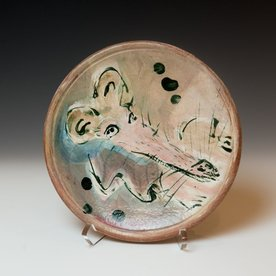 """Ron Meyers Ron Meyers, Small Plate with Rat, earthenware, 8.5"""""""