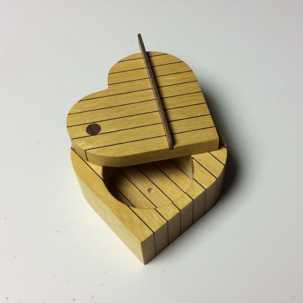 Doug Pisik, Leopard Stripe Heart Box, leopard wood, yellow wood, 1.5 x 3.5 x 3.25""