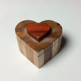 "Doug Pisik, Heart Box, cherry, bloodwood, found wood, 2 x 3.5 x 4"""