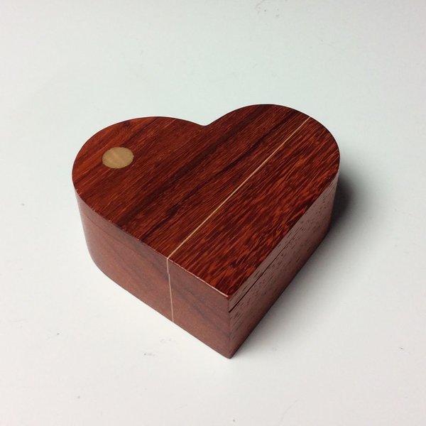 """Doug Pisik, Paduk Double Line Heart Box, paduk, maple, 1.5 x 4 x 4.5"""""""