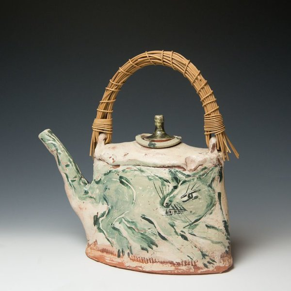 Ron Meyers Ron Meyers, Teapot /Femme & Rat, earthenware, 13.5 x 13 x 5""