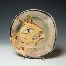 "Ron Meyers Ron Meyers, Bowl with Cat, earthenware, 1.75 x 10"" dia"