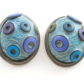 Ford & Forlano, Button Earrings, polymer clay, silver