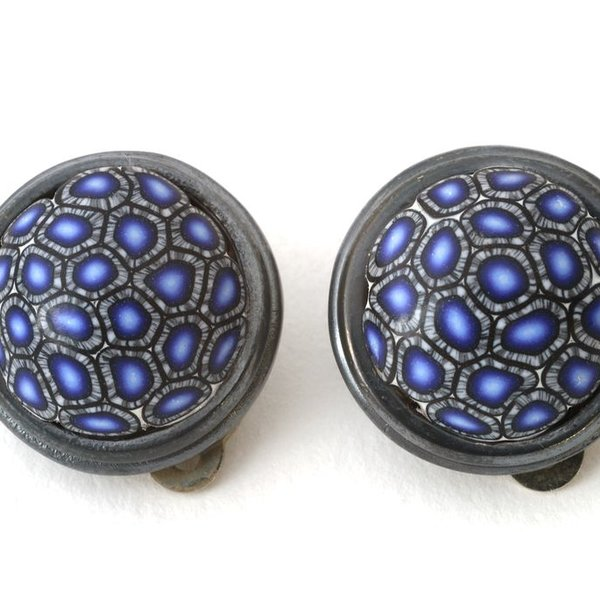 Ford & Forlano, Button Clip-on Earrings, polymer clay, silver