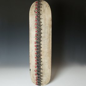 """George Peterson George Peterson, Lingo, recycled skateboards, waxed linen, 30 x 8.5 x 2"""""""