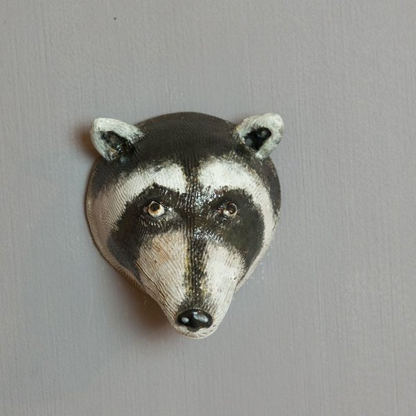 Barry Gregg Barry Gregg, Raccoon, handbuilt earthenware, glaze, 6.5 x 9.5 x 4""