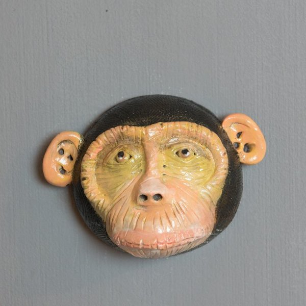 Barry Gregg Barry Gregg, Monkey, handbuilt earthenware, glaze, 4.25 x 5.75 x 3""