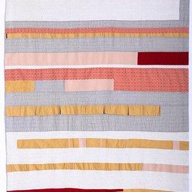 """Sheri Schumacher Sheri Schumacher, Muktinath, hand-stitched repurposed linens, clothing, printed cotton, 71 x 42"""""""