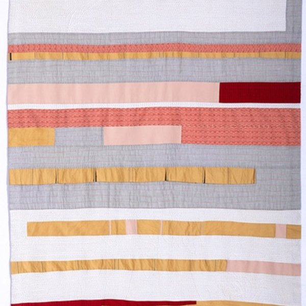 Sheri Schumacher Sheri Schumacher, Muktinath, hand-stitched repurposed linens, clothing, printed cotton, 71 x 42""