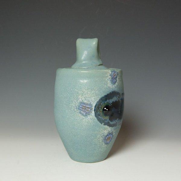 """Shadow May Shadow May, Lidded Jar, stoneware, glaze, 9.5 x 7"""""""