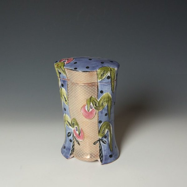 """Posey Bacopoulos Posey Bacopoulos, Tall Oval Box, majolica, gold lustre, 8.25 x 4.75 x 3.75"""""""