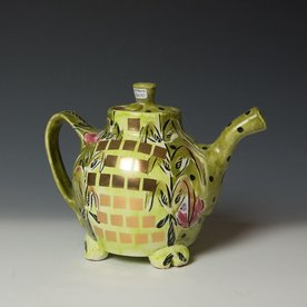 Posey Bacopoulos Posey Bacopoulos, Teapot, majolica, gold lustre