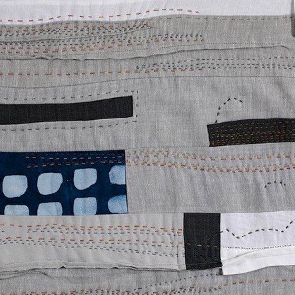 "Sheri Schumacher Sheri Schumacher, Kagbeni, hand-stitched repurposed linens, clothing, printed cotton, 36 x 68"""