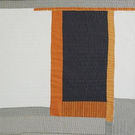 Sheri Schumacher Sheri Schumacher, Threshold, hand-stitched repurposed linens, natural and persimmon dyed thread, 38 x 27""