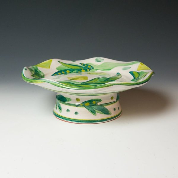 "Stanley Mace Andersen Stan Andersen, Serving Piece (2 parts), earthenware, majolica, 4.5x1"", 4.5x7.5"""""