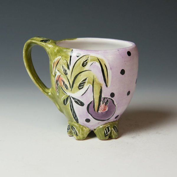 Posey Bacopoulos Posey Bacopoulos, Cup with Feet, majolica, 4.5 x 5.25 x 3.5