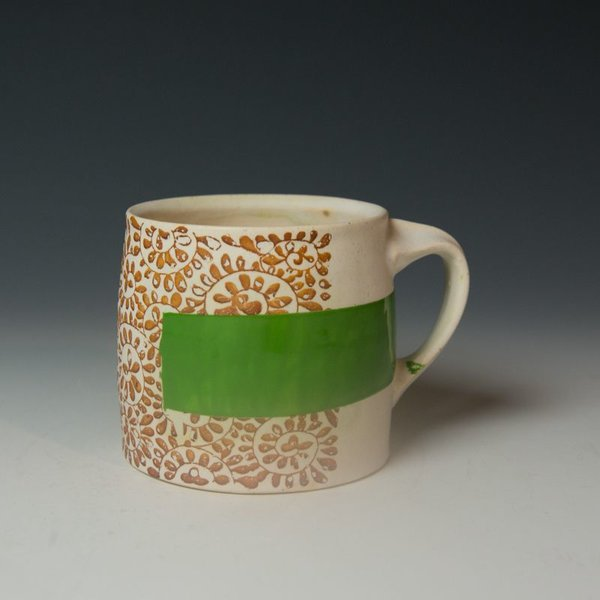 Stacy Snyder Stacy Snyder, Flower Mug, Thick Green Band