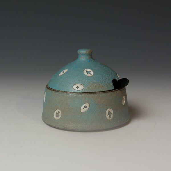 "Masa Sasaki Masa Sasaki, Medium Condiment Jar, black mountain clay, glaze, 3.25 x 3.75"" dia"