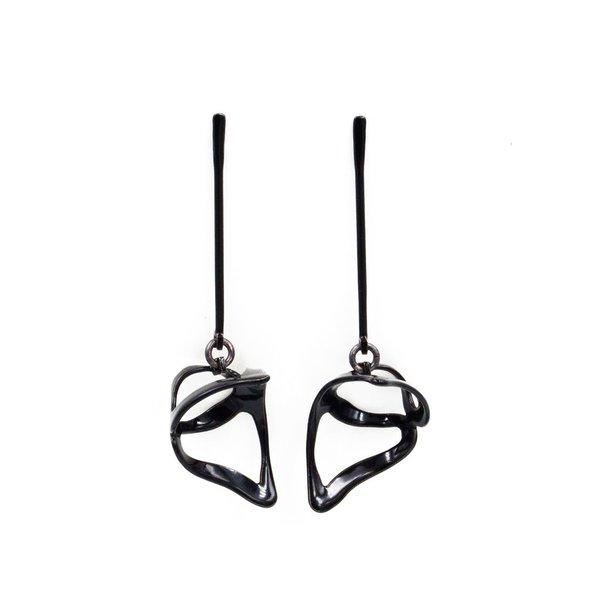 Laura Wood Laura Wood, Open Weave  Scoop Hoop Black Earring, brass, powder coat