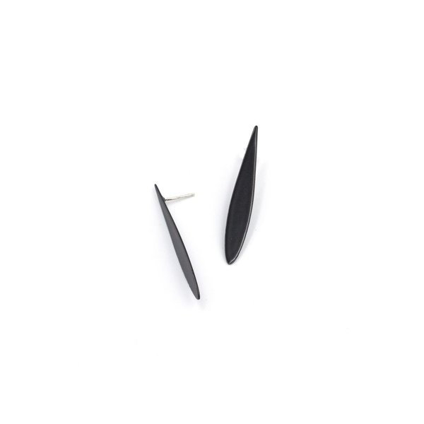 Laura Wood Laura Wood, Paddle Stud Black Earring, steel, sterling silver, powder coat