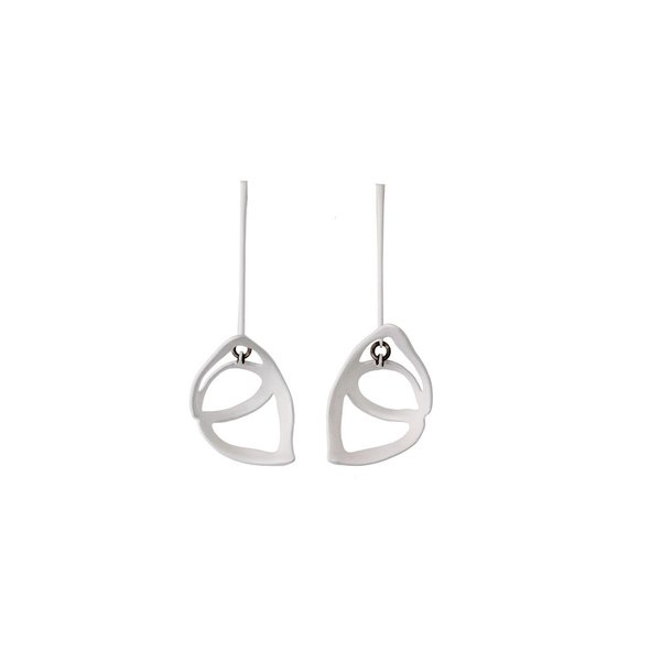 Laura Wood Laura Wood, Open Weave Scoop Drop White Earring, brass, sterling silver, steel powder coat