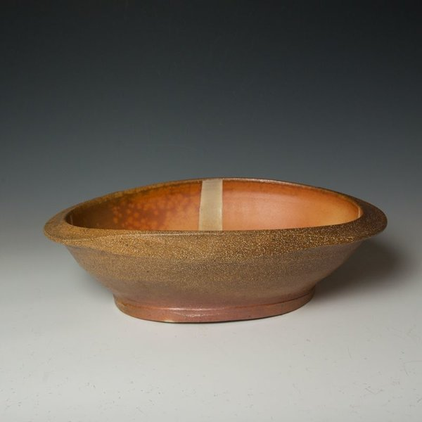Michael Simon Michael Simon, Large Oval Bowl, stoneware, glaze, slip, salt-fired, 5 x 12 x 17.5""