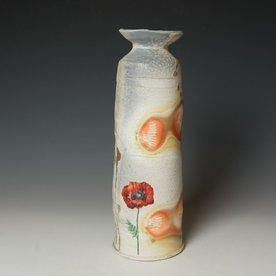 "Justin Rothshank Justin Rothshank, Tall Vase, wheel thrown, glazes, decals, 13 x 4.25"""