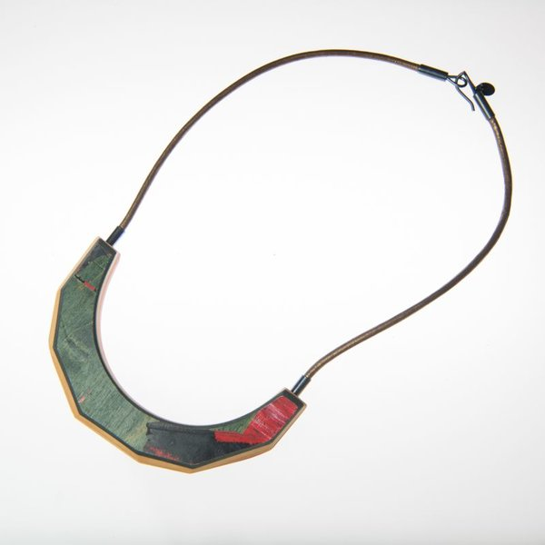 Tara Locklear Tara Locklear, Arc Necklace, recycled skateboard, sterling silver, leather, 8.5x4""
