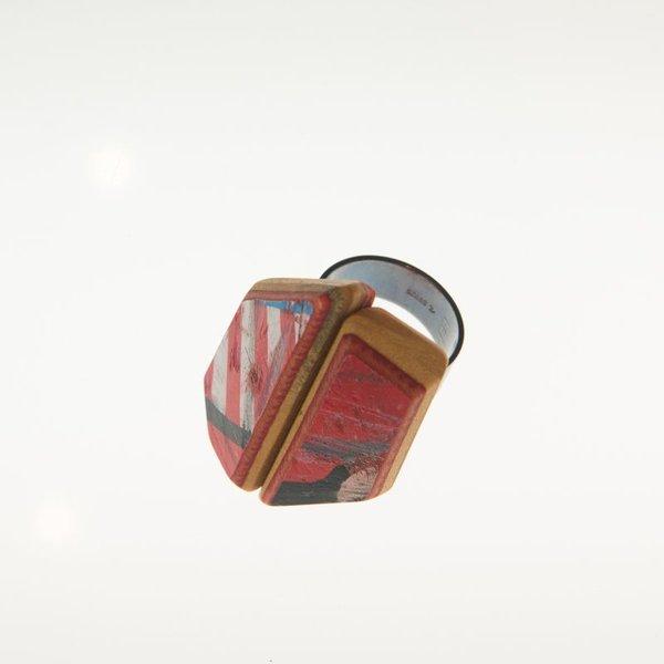 "Tara Locklear Tara Locklear, XL Gem Cocktail Ring, recycled skateboard, sterling silver, 1.5x1.25"""