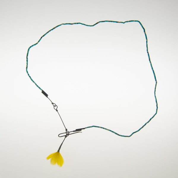 Gabrielle Gould Gabrielle Gould, Stone Thread Necklace, turquoise, sterling, feather clump