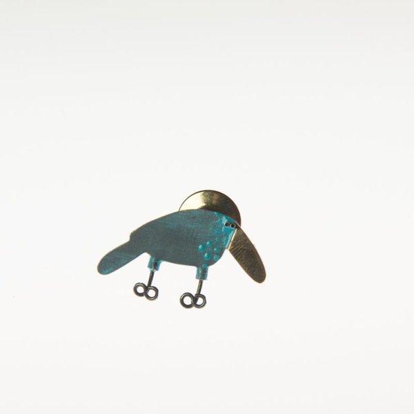 Gabrielle Gould Gabrielle Gould, Blue Bird Tack Pin w/ Gold Beak, ss,14k