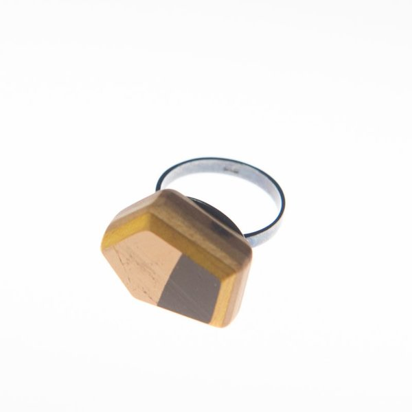 Tara Locklear Tara Locklear, Gem Solitaire Ring, recycled skateboard, sterling silver, 0.75x1""