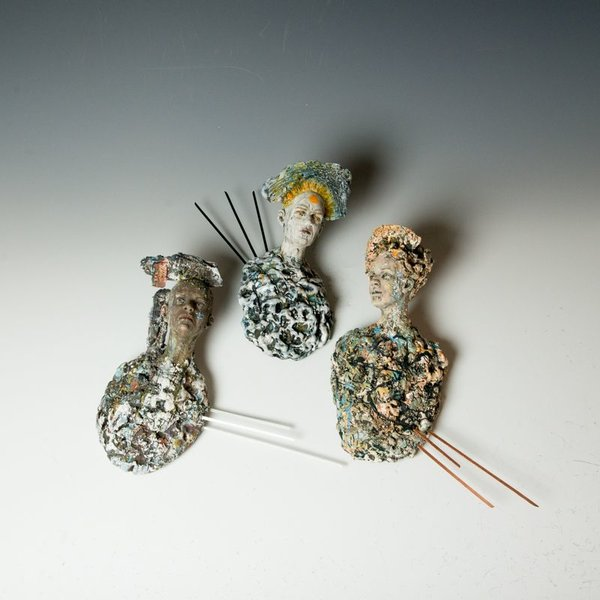 Kirsten Stingle Kirsten Stingle, Saint, handbuilt porcelain, multiple layers underglazes, slip, stains, mixed media