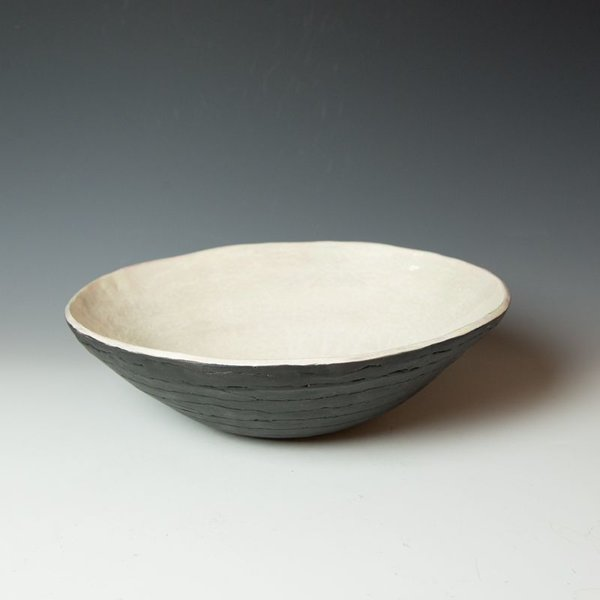 "Ann Housworth Ann Housworth, Coil Bowl, earthenware, underglaze, smoked, 4.5 x 14"" dia, NOT FOOD SAFE"