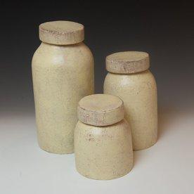 """Joe Pintz Joe Pintz, Mason Jar Set, handbuilt earthenware, 10 x 5"""" dia. largest"""