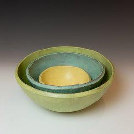 "Joe Pintz Joe Pintz, Nesting Bowl Set, handbuilt earthenware, 5.25 x 12.25"" dia"