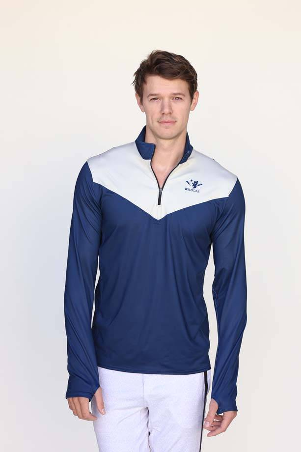 Wild Men's Navy Pro Panelled Quarter Zip