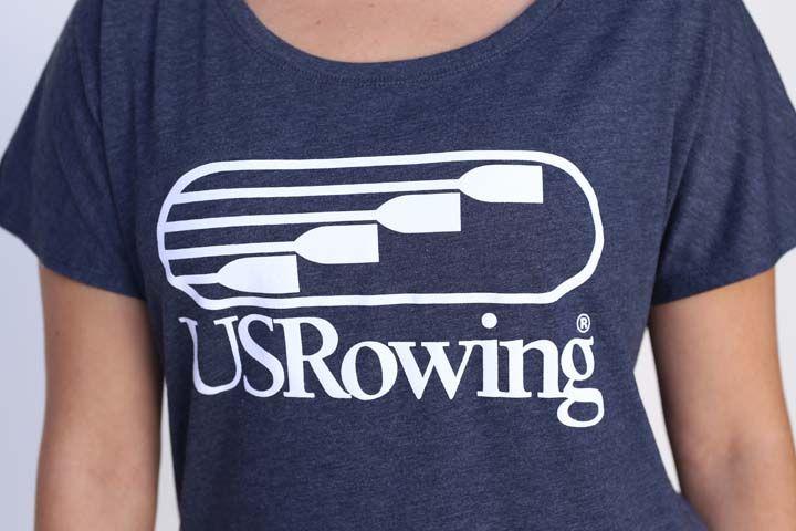 USRowing Women's SS Vintage Navy Tee