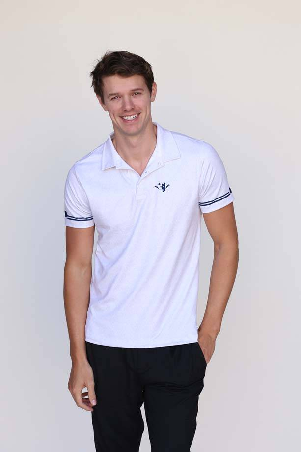 Wild Men's Grey Stripe Polo